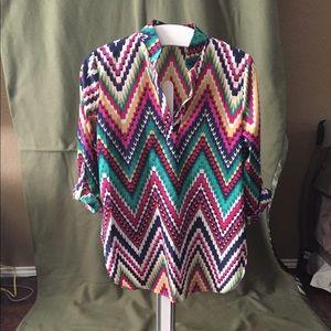 Auditions colorful zig zag design shirt. Size Lrg